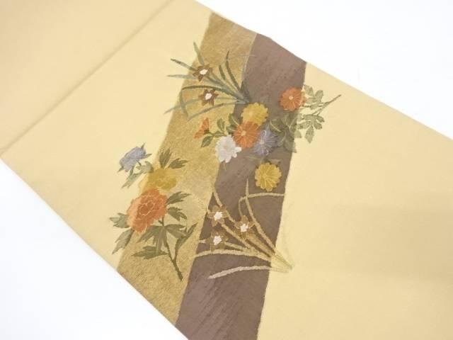 【IDnet】 斜め縞に草花模様織出し袋帯【リサイクル】【中古】【着】
