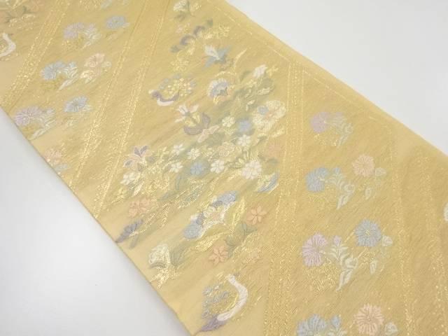 【IDnet】 紗 金銀糸斜め縞に花鳥模様織出し袋帯【リサイクル】【中古】【着】