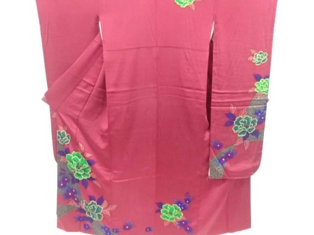 牡丹に菊模様振袖・長襦袢・全通袋帯・和装小物セット(重ね衿付き)【リサイクル】【中古】【着】 【IDnet】