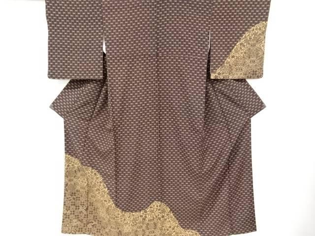 【IDnet】 華紋更紗模様手織り紬着物【リサイクル】【中古】【着】