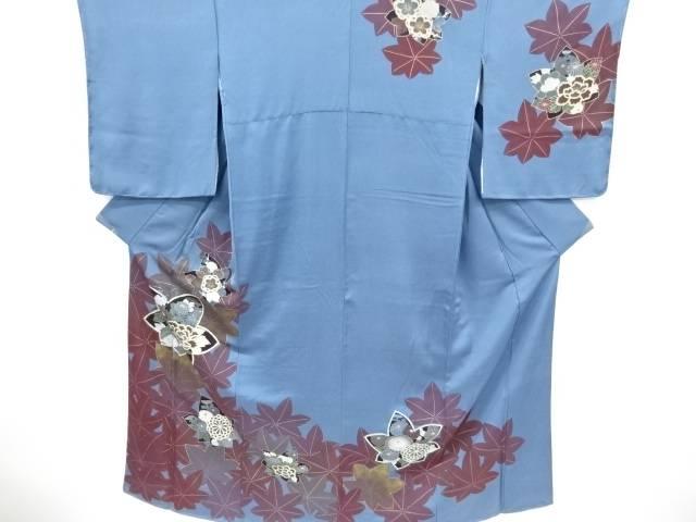 【IDnet】 未使用品 仕立て上がり 楓に牡丹・菊・八重梅模様刺繍訪問着【着】