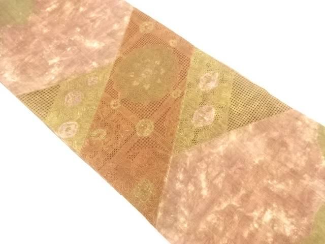 汕頭蘇州刺繍草木染本絞り手織り真綿紬華紋模様袋帯【リサイクル】【中古】【着】 【IDnet】