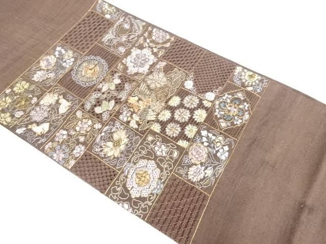 【IDnet】 手織り紬汕頭蘇刺繍花模様袋帯【リサイクル】【中古】【着】