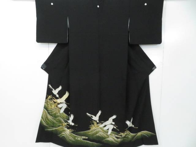 黒留袖 【IDnet】 波に鶴文 着物【リサイクル】【中古】【着】 金駒刺繍