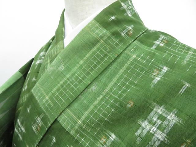超爆安  【IDnet】 紬 市松に絣寄せ柄 着物【リサイクル】【着】, アウトドアライフ グリーンハウス 60a9cad1
