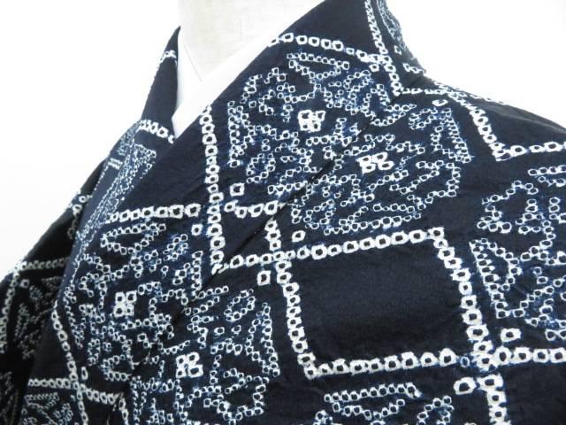 男女兼用 【IDnet】 小紋 絞りに菱と幾何学花文 着物【リサイクル】【着】, 志摩町 efd29e47