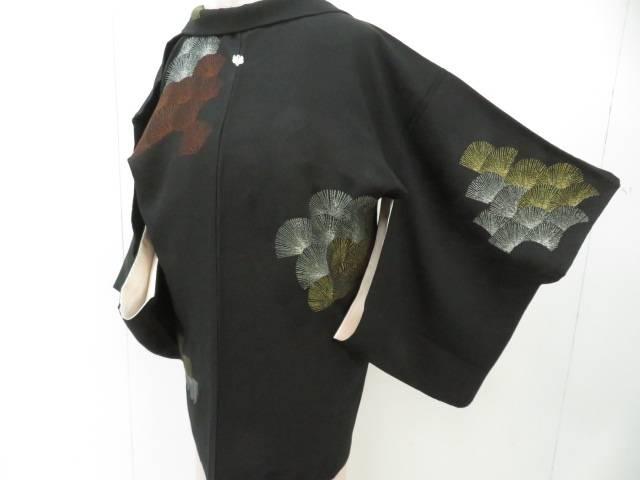 スーパーセール50%OFF IDnet 品質検査済 黒羽織 金銀糸 漆 中古 着 松文 一つ紋入り 新色追加して再販 大正ロマン