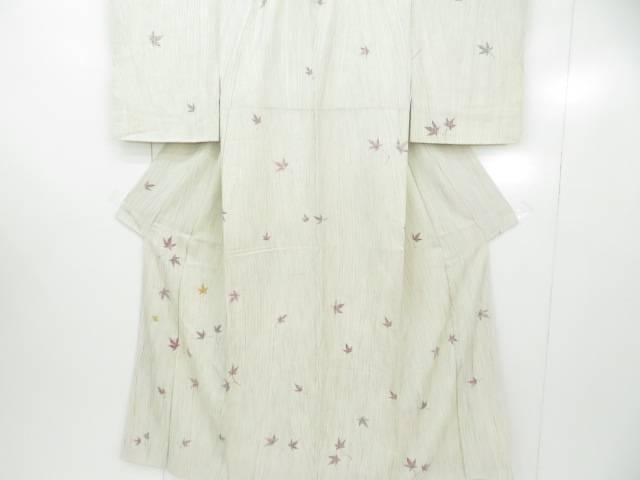 アイディーネットのリサイクル アンティーク着物 茶道具 IDnet 有名な 絵羽小紋 金彩 一つ紋入り 変わり縞に楓散らし文 商舗 着 中古 着物 リサイクル