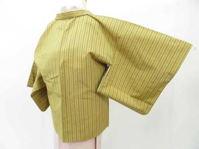 アイディーネットのリサイクル アンティーク着物 安い 茶道具 IDnet 羽織 紬織 リサイクル 羽織紐付き 縦縞文 中古 着 いつでも送料無料