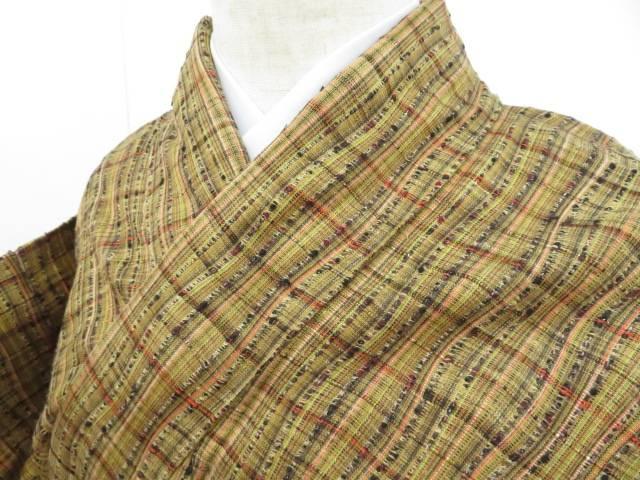 アイディーネットのリサイクル アンティーク着物 買物 茶道具 IDnet 手織紬 単衣 中古 よろけ格子縞模様 爆売り リサイクル 着物 着
