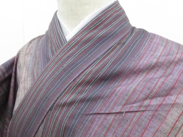 メイルオーダー アイディーネットのリサイクル アンティーク着物 引き出物 茶道具 IDnet 紬 着 中古 リサイクル 縞模様 着物