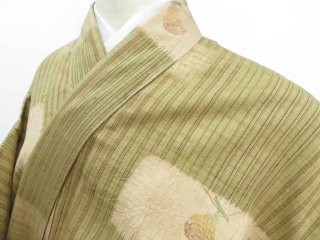 アイディーネットのリサイクル アンティーク着物 年中無休 茶道具 IDnet お中元 紬 着物 着 中古 リサイクル 縞に器物色紙模様
