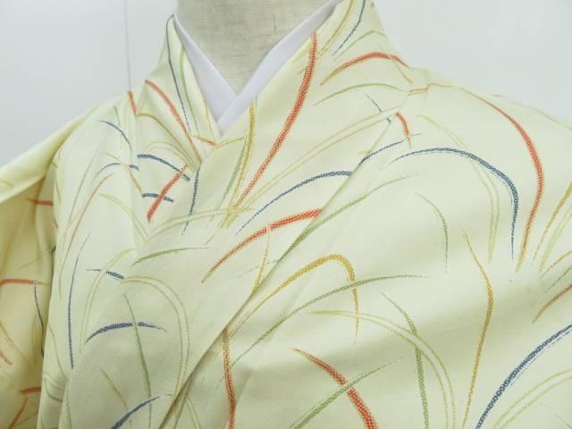 アイディーネットのリサイクル アンティーク着物 茶道具 IDnet 激安卸販売新品 紬 中古 高品質 リサイクル 秋草模様 着 着物