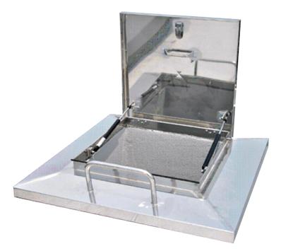 あんしんハッチ・取手付(ガスダンパー式ステー)600×1000 ステンレス角型屋上マンホール(直送品)鍵付