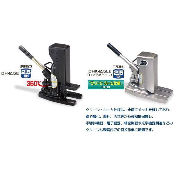 【ダイキ DAIKI】 油圧爪付ジャッキ(レバー回転式)クリーンルーム仕様(メッキ) 【DHK-2.5E】