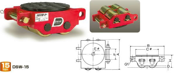 【ダイキ DAIKI】 スピードローラー 標準タイプ DSW-15 ダブル型 能力15t