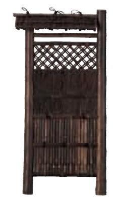 グローベン A17FE414 本竹虎巻き屋根付袖垣 W700 H1700
