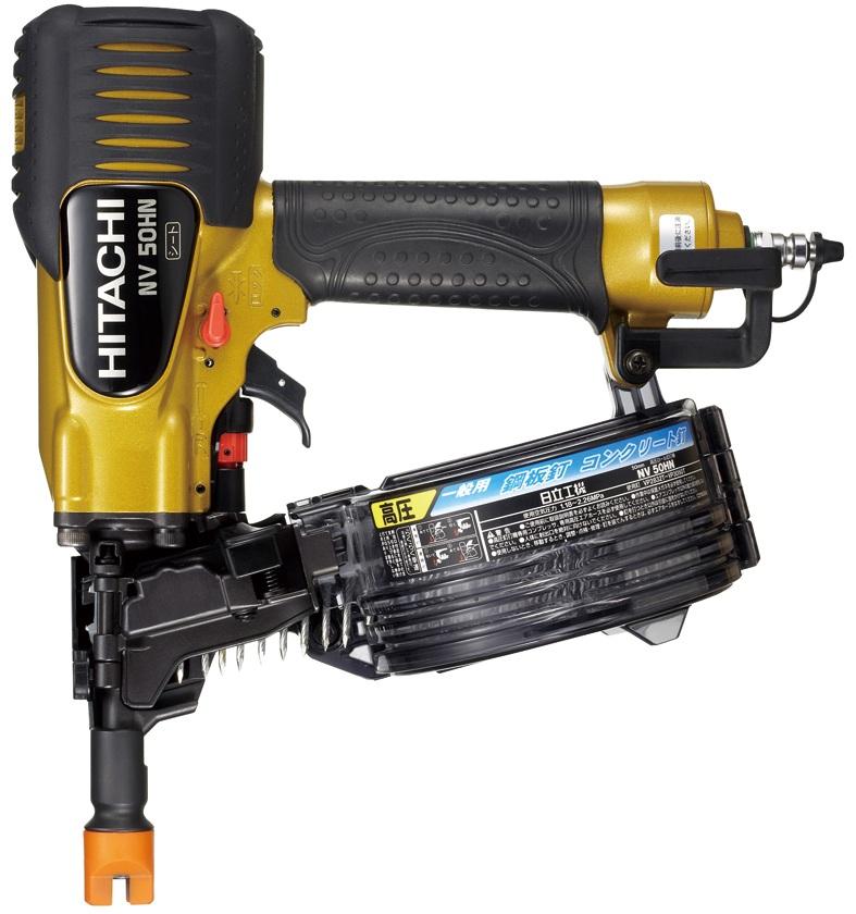 高品質 HiKOKI(旧日立工機) 高圧ロール釘打機 ケース付:家づくりと工具のお店 家ファン! 鋼板用 NV50HN-DIY・工具