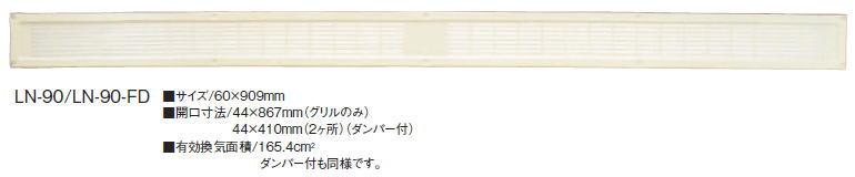 カネシン ロング軒裏換気 LN-90 アイボリー 503000(20入1ケース)