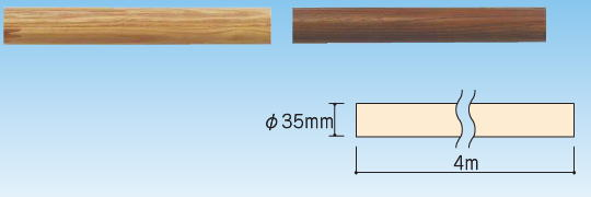 (5本入) φ35 木製集成材 手すり棒 φ35×4m クリア※配送不可(店頭御引取りのみ)
