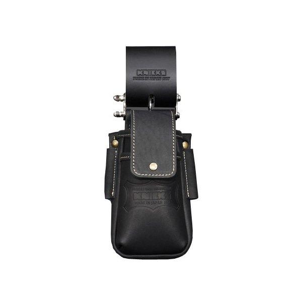 ニックス KBS-201DSDXF 蓋付き総ヌメ革チェーンタイプ小物腰袋 (黒)