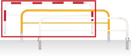 MEDOMALK メドーマルク F6B-25SK ゲートタイプ 車止め 鉄製 横桟付 Φ60.5 差込式フタ付・南京錠付 赤白2色
