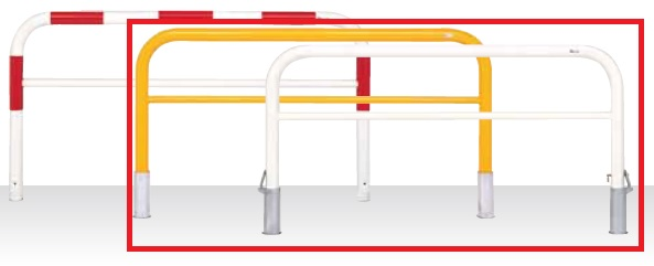 MEDOMALK メドーマルク F8B-20 ゲートタイプ 車止め 鉄製 横桟付 Φ76.3 固定式 白/黄