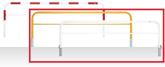 MEDOMALK メドーマルク HF6B-30SF ゲートタイプ 車止め 鉄製 横桟付 Φ60.5 差込式フタ付 白/黄 納期問い合わせ ※