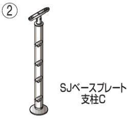 四国化成 屋外手すりビーム4段 セイフティビーム ベースプレート式 平地支柱C SJ-BPCA08
