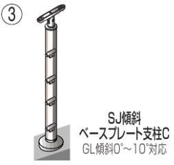 四国化成 屋外手すりビーム4段 セイフティビーム ベースプレート式 傾斜支柱C SJ-BKCA08