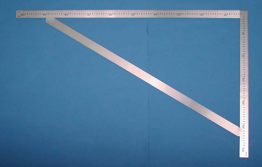 シンワ測定 63121 曲尺筋交付大金 ステン 1m×60cm 表裏同目