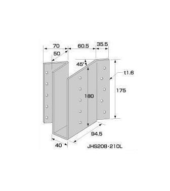 2×4用金物 根太受け金物 JHS208・210L 20個入 Cマーク