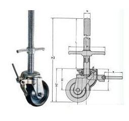 2本入 単管キャスタージャッキ付キャスター 8インチ(吋) 仮設工業会認定品 WSJ-200 RD