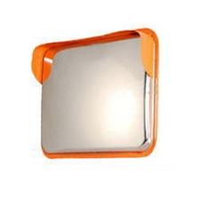 角型カーブミラー ステンレス シングル 600×800mm 高輝度反射シール付き