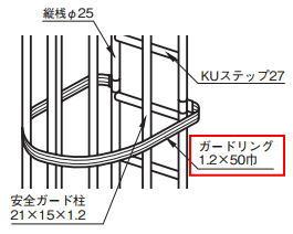 杉田エース ACE(241-788)KUステップ27用安全ガード部材 標準品ガードリンクのみ 3000×700 ヘアーライン