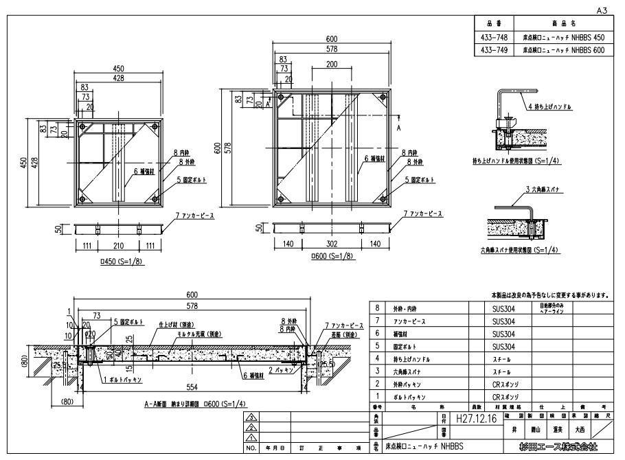 ナカ工業 NHBBS-600 防臭・防水型 ステン床下点検口 ニューハッチ