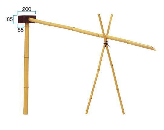 タカショー BK-1L (05339100) 竹製カケヒ 受付き H約900mm、流れ:約1800mm(直送品)