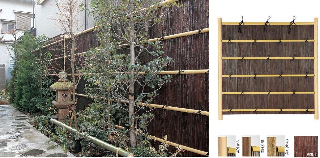タカショー エバー11型セット 80φさび丸太柱 基本1800 (片面)