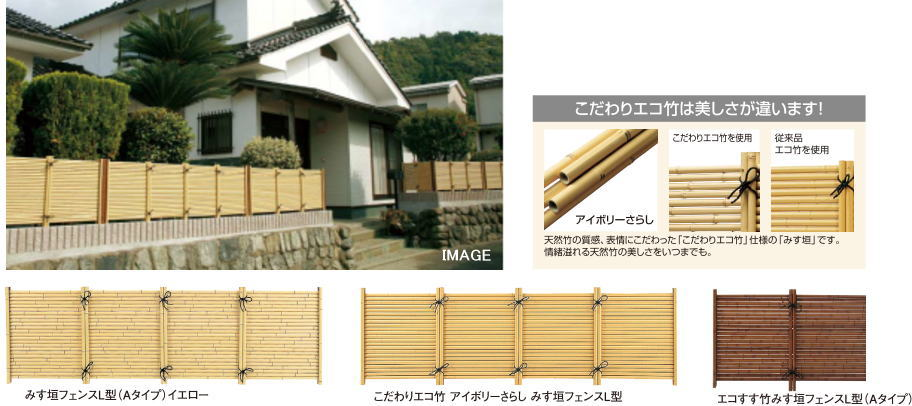 タカショー PT-022 エコすす竹みす垣フェンス L型 (Aタイプ) H900