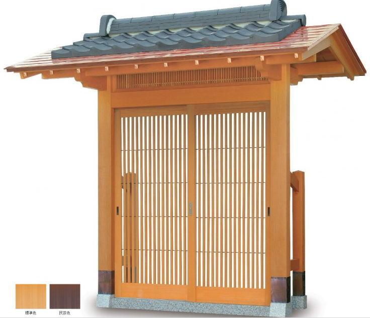 タカショー SKY-1AK 数寄屋門1型 標準 銅板一文字葺き瓦合葺きタイプ (瓦含む) 千本格子タイプ