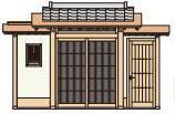 タカショー SKY-1AK-DM 数寄屋門1型 両袖付 銅板一文字葺き瓦合葺きタイプ (瓦含む) 千本格子タイプ