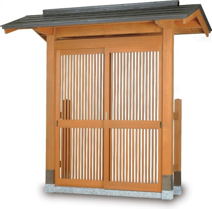 タカショー SKY-2D 数寄屋門2型 カラー鋼板一文字葺き 帯入千本格子タイプ