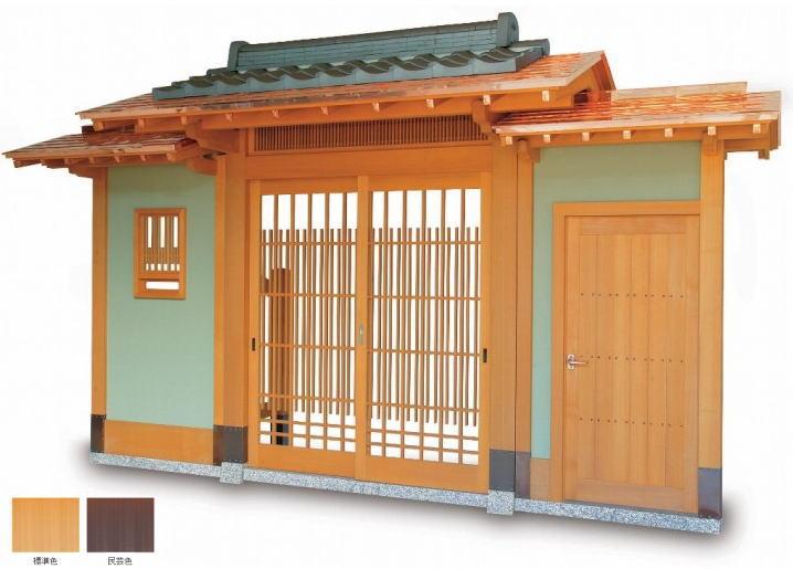 タカショー SKY-1BK-DM 数寄屋門1型 両袖付 銅板一文字葺き瓦合葺きタイプ (瓦含む) 腰枡切子格子タイプ