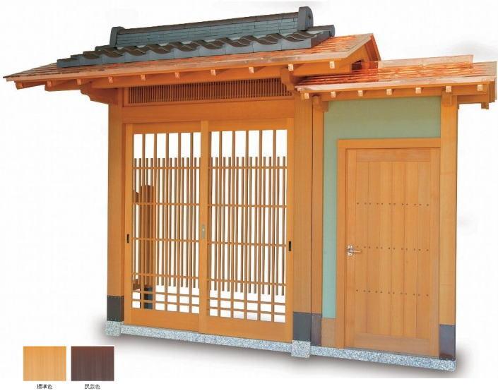 タカショー SKY-1BK-D 数寄屋門1型 片袖付 銅板一文字葺き瓦合葺きタイプ (瓦含む) 腰枡切子格子タイプ