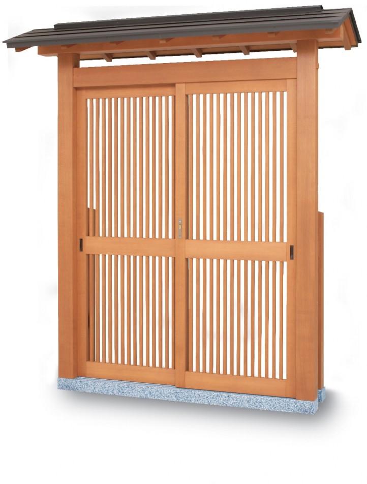 タカショー SKY-7 数寄屋門7型 カラー鋼板葺き 帯入千本格子タイプ