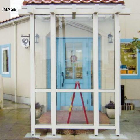 タカショー ポーチテラス カフェスタイル FIX 1間×8尺 ナチュラルパイン 前面ガラス屋根トウメイ
