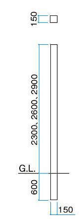 タカショー スタイルウォールコーナージョイント2600用 150×3200×150