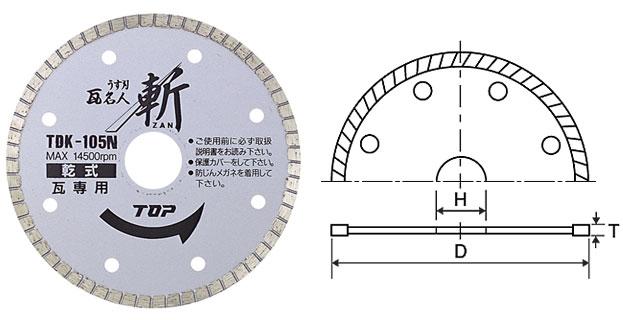 TOP トップ工業 TDK-125N ダイヤモンドホイール ZAN 乾式