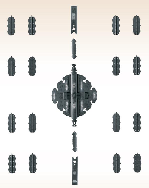 TUKIESU ツキエス 前飾・八双 TS-112 5寸 銀古美 菊唐草前飾 定木付 1組