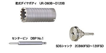 UNIKA ユニカ 多機能コアドリル UR21 UR21-D038SD Dシリーズ 乾式ダイヤ SDS セット品